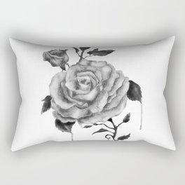 Black and White Rose Flower Rectangular Pillow