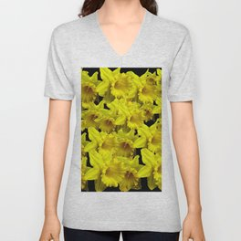 YELLOW SPRING KING ALFRED DAFFODILS ON BLACK Unisex V-Neck