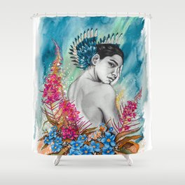 Alaska Wildflowers: Fireweed & Forget-me-nots Shower Curtain