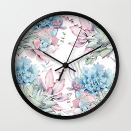 Pretty Pastel Succulents Garden 2 Wall Clock