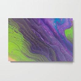 Fluid Art Acrylic Painting, Pour 29, Lime Green, Purple & Blue Blended Color Metal Print