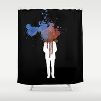 grafitti Shower Curtains featuring Space Galaxy Head – Abstract Grafitti by pithyPENNY
