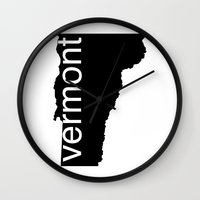 vermont Wall Clocks featuring Vermont by Isabel Moreno-Garcia