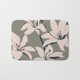 Amaryllis Floral Line Drawing, Light Rose and Navy on Earth Green Bath Mat