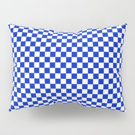 Small Cobalt Blue and White Checkerboard Pattern Pillow Sham