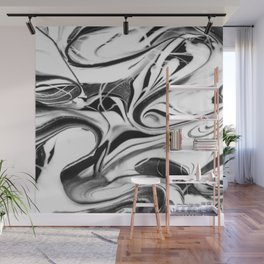 Black and white swirl - Abstract, black and white swirly, paint mix texture Wall Mural