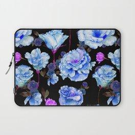Blue pink purple watercolor roses pattern Laptop Sleeve