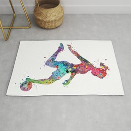 Girl Soccer Player Watercolor Sports Art Rug