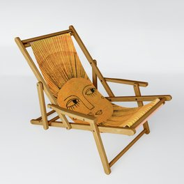 Sun Drawing Gold and Pink Sling Chair