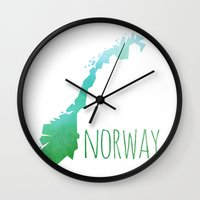 norway Wall Clocks featuring Norway by Stephanie Wittenburg