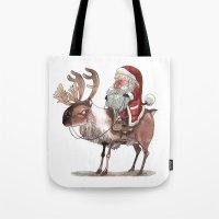bouletcorp Tote Bags featuring Père Noël Énervé / Angry Santa by Bouletcorp