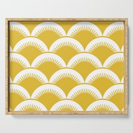 Japanese Fan Pattern Mustard Yellow Serving Tray