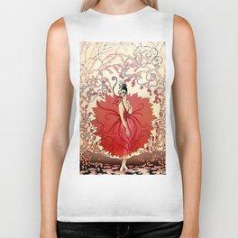 "Delightful Art Deco Illustration ""Blossoms"" Biker Tank"
