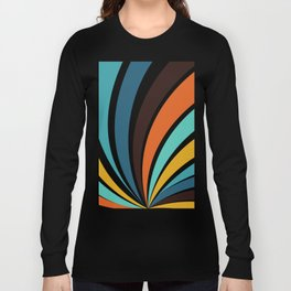 Funky Geometric Bright Yellow Orange Brown Teal Blue Colorful 70s retro stripes Long Sleeve T-shirt