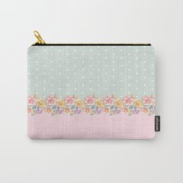 Vintage green pastel pink yellow floral polka dots Carry-All Pouch