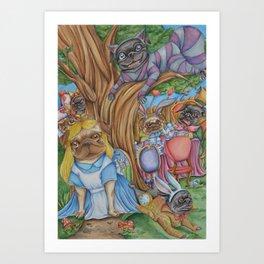 Pug in Wonderland Art Print