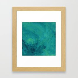 Watercolor green and blue Framed Art Print