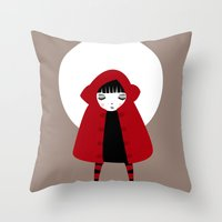 red riding hood Throw Pillows featuring Little Red Riding Hood by Volkan Dalyan