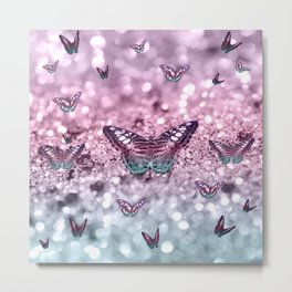 Pastel Unicorn Butterfly Glitter Dream #2 #shiny #decor #art #society6 Metal Print