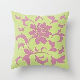 Oriental Flower - Strawberry & Daiquiri Green Lime Throw Pillow