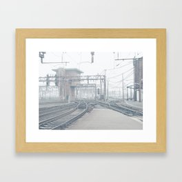 platforms end and signal tower faded Framed Art Print