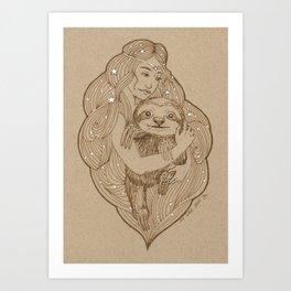 Slothy Christmas Art Print