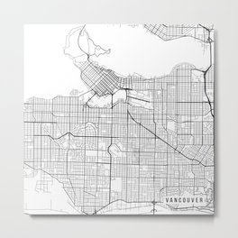 Vancouver Map, Canada - Black and White  Metal Print