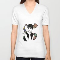 hepburn V-neck T-shirts featuring hepburn by jollyjgiant