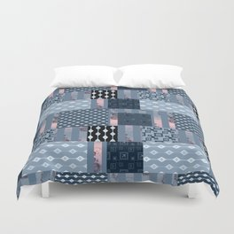 #Pink #blue #patchwork # country Duvet Cover