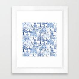 Pagoda Forest Blue and White Framed Art Print