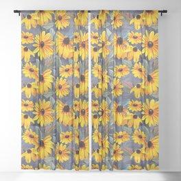 Black-eyed Susan Pattern Sheer Curtain