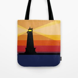 Lighthouse Silhouette At Sunset in Michigan Tote Bag