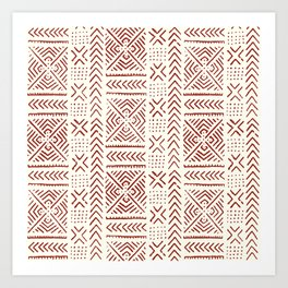 Line Mud Cloth // Ivory & Burgundy Art Print