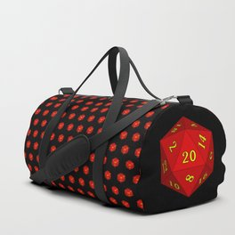 Red d20 pattern, black background Duffle Bag