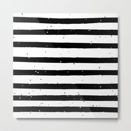 Black and White Stripe Metal Print