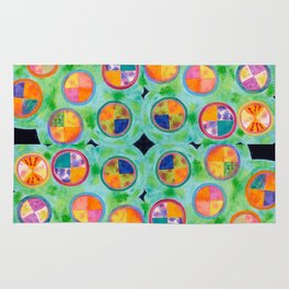 Mixed Colorful Colors in Circles Rug