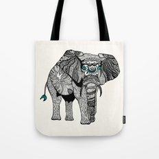 Tribal Elephant Black and White Version Tote Bag