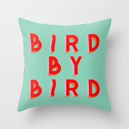 Bird By Bird, squiggly version Throw Pillow