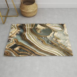 White Gold Agate Abstract Rug