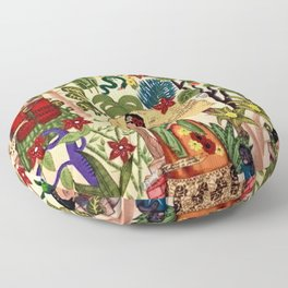 Frida's Garden, Casa Azul Lush Greenery Frida Kahlo Landscape Painting Floor Pillow