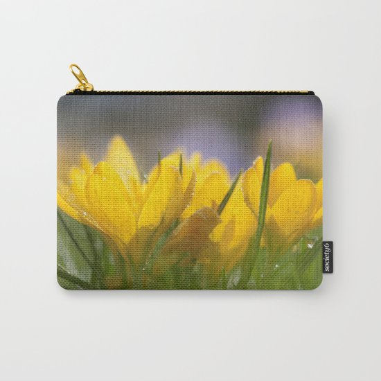 Yellow wet crocus at backlight Carry-All Pouch