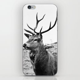 The Stag on the hill - b/w iPhone Skin