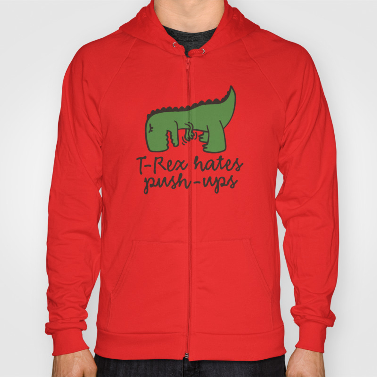 Mens Pullover Hoodie Sweatshirt with Pockets T Rex Hates Pushups