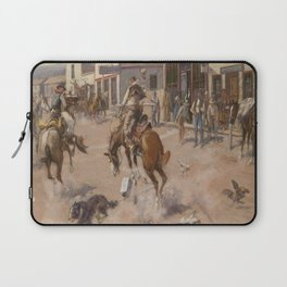 C.M. Russell Vintage Western Quiet Day In Utica Laptop Sleeve