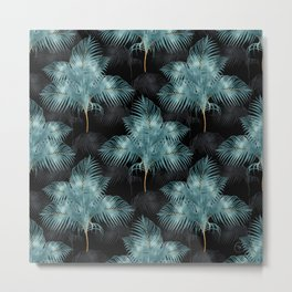 Tropical Metallic Blue & Gold Palm Leaves Summer Design Metal Print