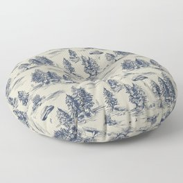 Alien Abduction Toile De Jouy Pattern in Blue Floor Pillow