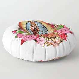 Our Lady of Guadalupe with roses Floor Pillow