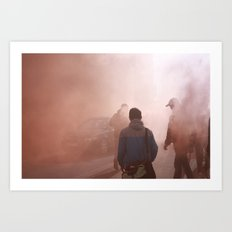 Red Smoke Streets Art Print