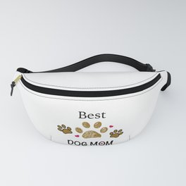 Brown paw print with hearts. Best dog mom Fanny Pack