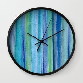 Blue and Green Watercolor Stripes - Underwater Reeds / Abstract Wall Clock